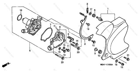 Honda Motorcycle Oem Parts Diagram For Water Pump