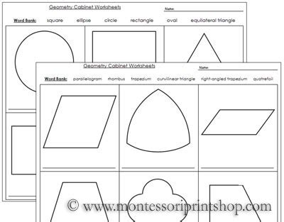 Geometry Cabinet Worksheets Worksheets For The Geometry Cabinet  Montessori Ideas Pinterest