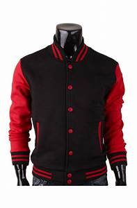 Red And Black Varsity Jacket In Baseball Letterman Style