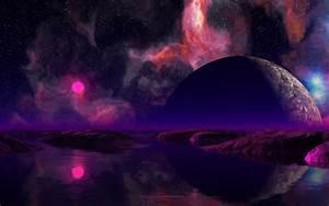Pink Sun Over Water Planet Space Desktop Wallpaper ...