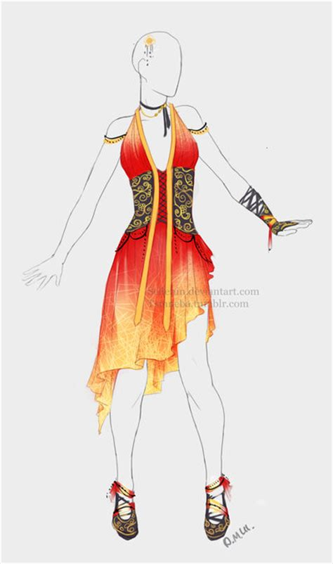 Outfit adopt Fire dress - Closed by Sellenin on DeviantArt