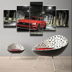 5 Pieces Ford Mustang Car Pictures Modern Wall Art Paintings Framework For Living Room Home ...