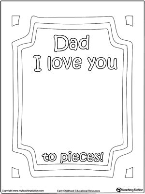 Dad I Love You to Pieces Printable Page