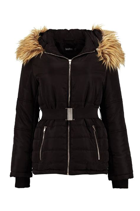boohoo ruby belted quilted jacket  faux fur hood  black lyst