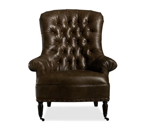 radcliffe tufted leather armchair pottery barn
