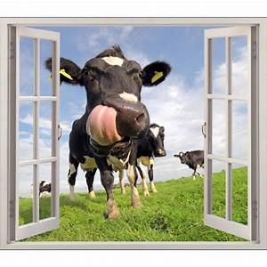 Tete De Vache Deco : sticker fen tre trompe l 39 oeil vache r f 5476 stickers muraux deco ~ Melissatoandfro.com Idées de Décoration