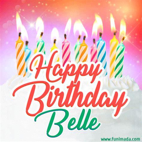 happy birthday gif  belle  birthday cake  lit
