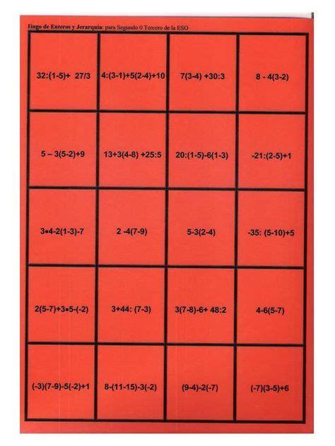 Bingo matemático de jerarquía con enteros (nivel i). BINGO MATEMÁTICO DE JERARQUÍA CON ENTEROS (NIVEL II ...