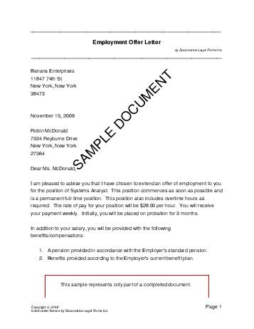 employment offer letter india legal templates