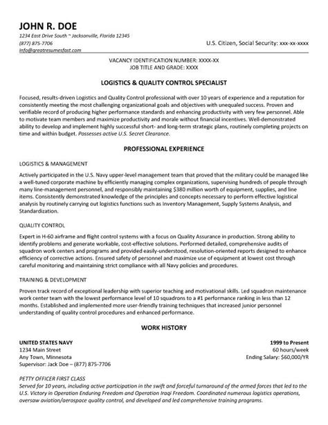 Quality Specialist Resume by Government Resume Exle And Template To Use