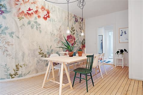 papier peint salle a manger 4 murs salle 224 manger scandinave avec un papier peint fleuri