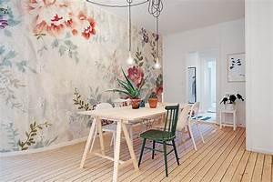 Papier Peint Fleuri Vintage : salle manger scandinave avec un papier peint fleuri ~ Melissatoandfro.com Idées de Décoration