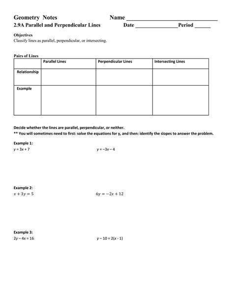 slopes of parallel and perpendicular lines worksheet free printables worksheet