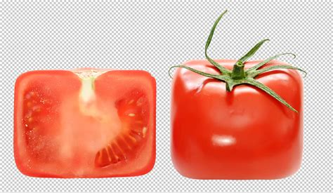 square tomato clipping path included  transparent