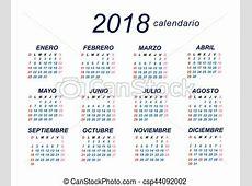 Vector Clip Art de calendario, 2018, español 2018