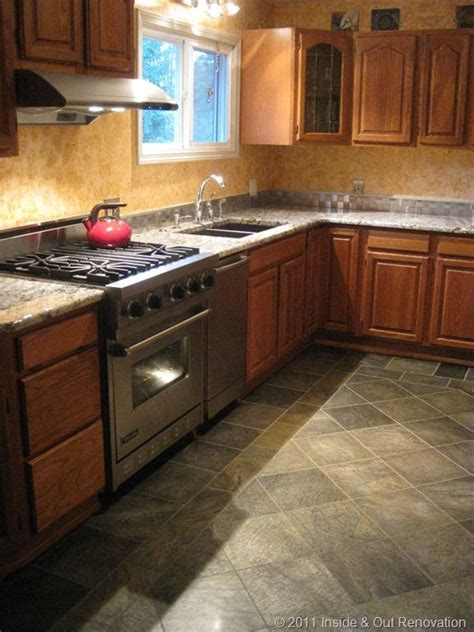 Kitchen Floors And Countertops by Kitchen Wood Slate Floor And Gray Granite Countertops