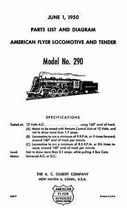 American Flyer Locomotive 290 Postwar Pacific Parts List