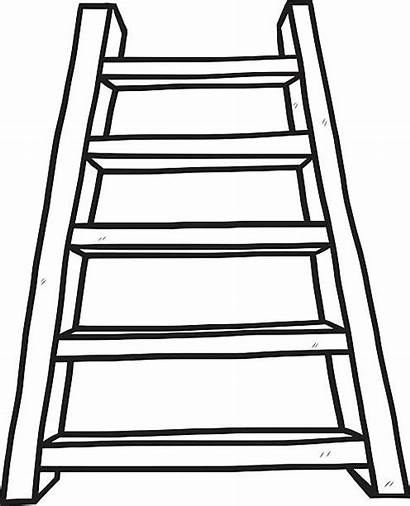 Ladder Clip Cartoon Clipart Stairs Vector Wooden