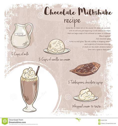 cr駱ine cuisine dirigez l 39 illustration tirée par la de la recette de milkshake de chocolat avec la liste d 39 ingrédients illustration de vecteur image
