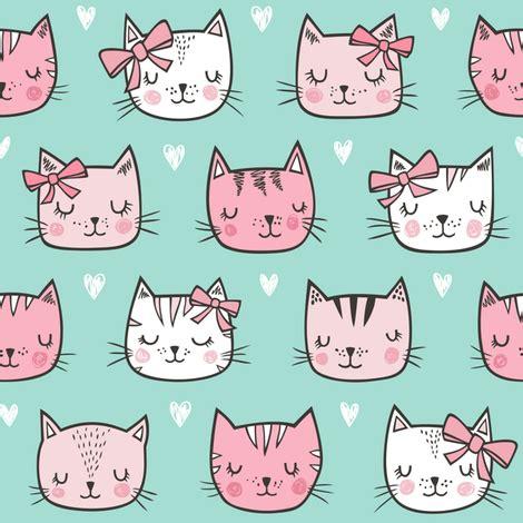 pink cat cats faces  bows  hearts  mint green