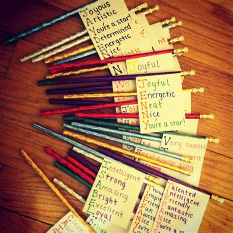 gifts for students for my students as a goodbye gift just some index cards pencils and a word for every letter