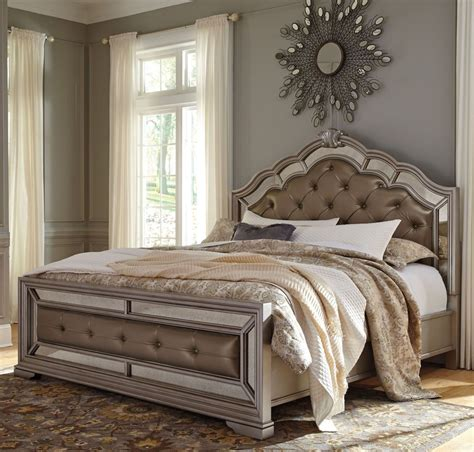 birlanny silver upholstered panel bedroom set  ashley