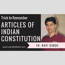 Trick To Remember Articles Of Indian Constitution  Part 1 Of 3 Youtube