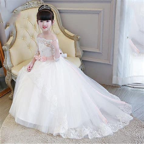 lp   shoulder lace flower girl dress long