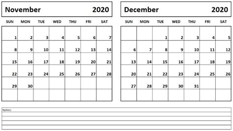 printable november december  calendar calendar