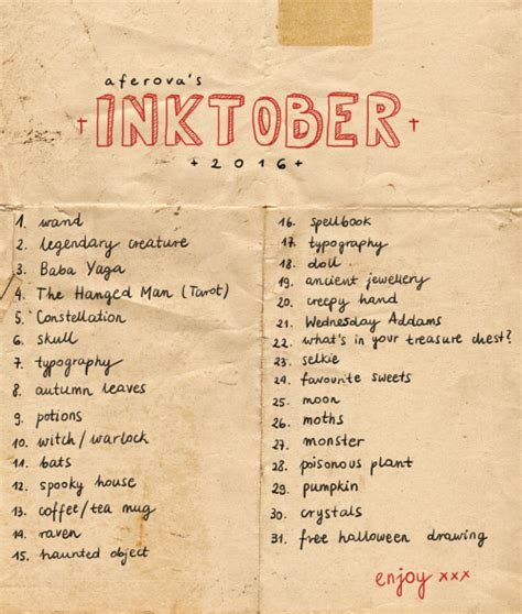 inktober drawing prompts  tumblr