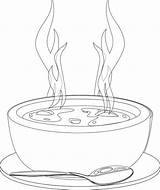 Soup Coloring Bowl Clipart Warms Webstockreview Kidsdrawing sketch template