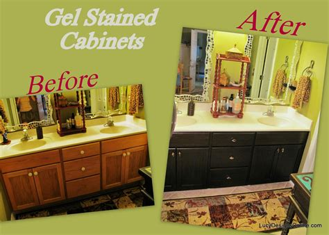 How To Use Gel Stain Diy Gel Stained Master Bath Cabinet