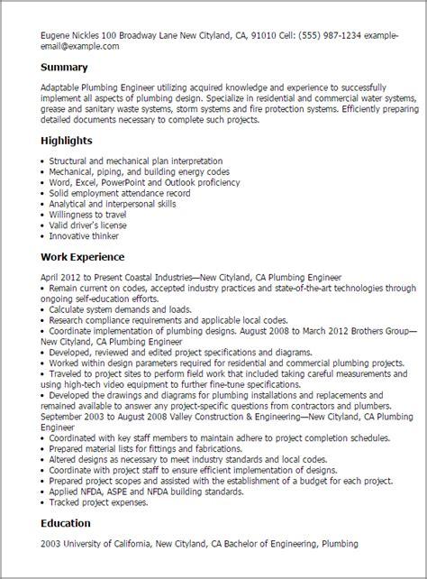 Plumbing design engineer resume