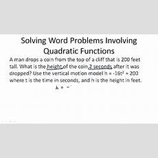 Solving Word Problems Involving Quadratic Equations Worksheets Tessshebaylo