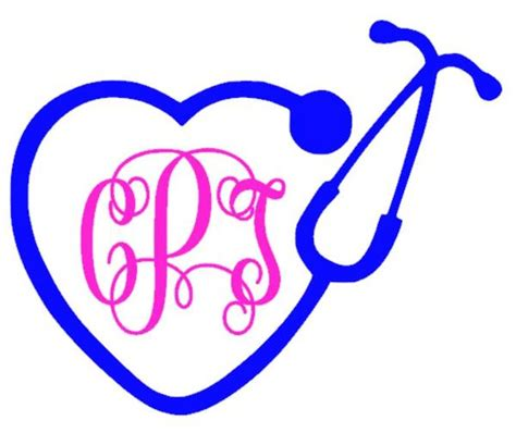 stethoscope monogram decal southern grace creations