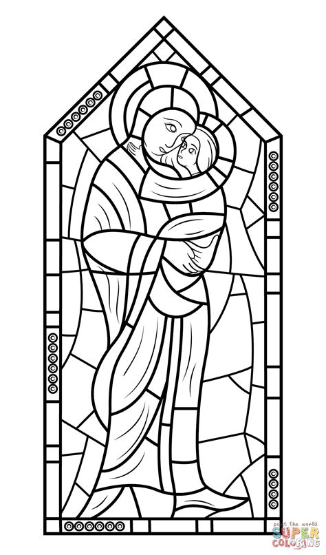 Mother Mary With Jesus Stained Glass Coloring Page Free