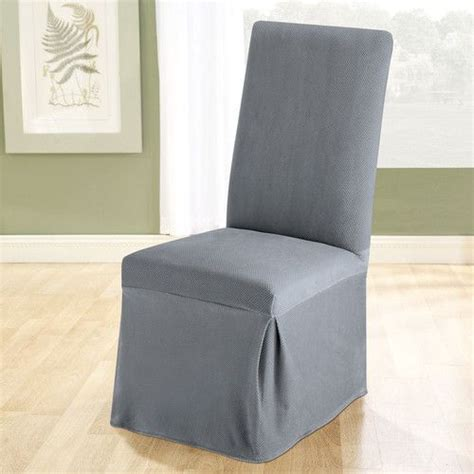 stretch pique dining chair slipcover living dining room  silver grey blue  green