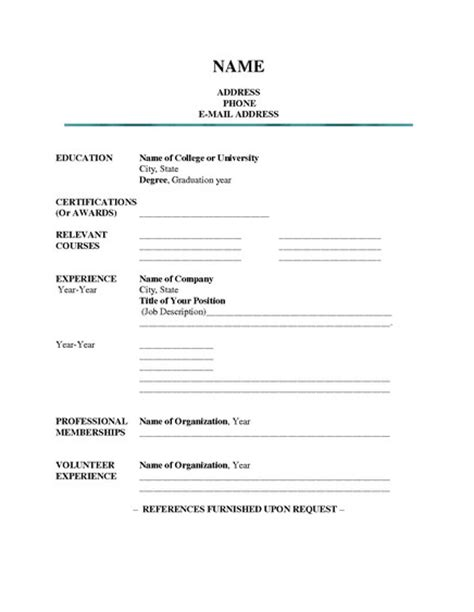 Resume Filler Content by Resume Fill Blank Student Resume Template