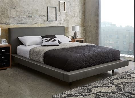 bed metal frame diaz grey faux leather bed frame dreams