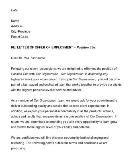 employment offer letter template 70 offer letter templates pdf doc free premium