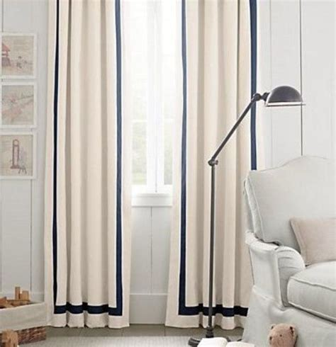 pair   panels grosgrain ribbon trim linen curtains