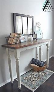 Distressed Antique White Entry Table General Finishes