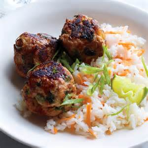 asian turkey meatballs  carrot rice recipe martha