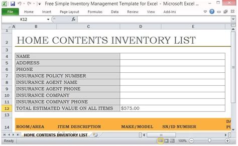 simple inventory management template  excel