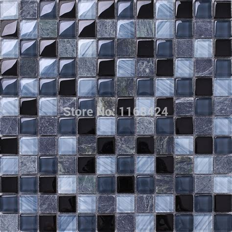 gray mixed blue glass mosaic tiles 1x1 quot squared