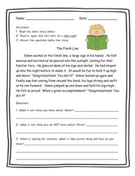 Reading Comprehension Worksheets Focus On Inference  Short Reading Comprehension Passages