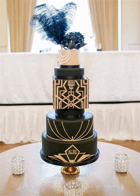 refined  bold art deco wedding cakes weddingomania