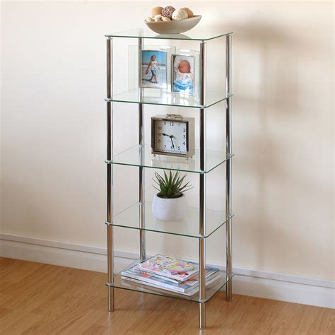 Living Room Glass Unit by Hartleys Clear Glass 5 Tier Side Table Display Shelf Unit