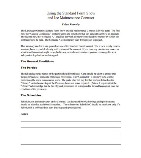 snow plowing contract template   documents