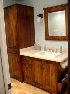 wormy maple rustic vanity  linen tower